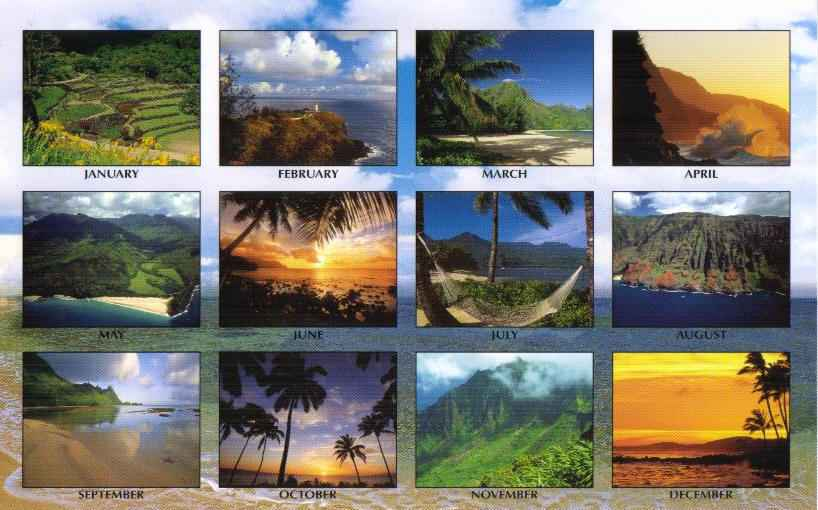 Island of Kauai 2011Hawaiian calendar reverse. Click on the image for a larger view.